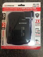 Xtreme Cables XWS8-0107-BLK 1.5 ft. Cord Travel Surge-Charger, Black
