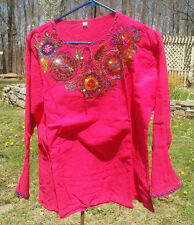 Maya Mexican Blouse Top Shirt Beaded Embroidered Flowers Chiapas Pink XL
