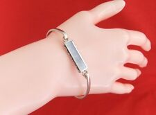 925 Sterling Silver Front Clasp Rectanguar Blue Mother of Pearl Bangle