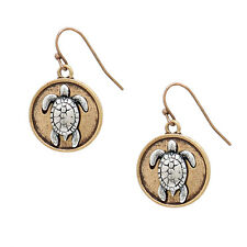 Two Tone Sea Turtle Fashionable Earrings - Fish Hook - Gold & Silver Burnished