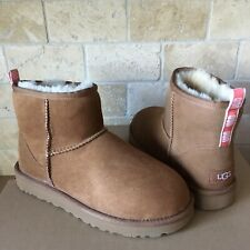 UGG Classic Mini Graphic Logo Chestunt Coral Suede Fur Boots Size 7 Women
