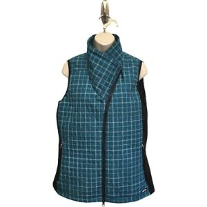 Kerrits Quilted Teal Black Riding Vest Jacket Asymmetrical Zip Collar Neckline L