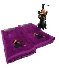 Halloween 2 Purple Cat Hand Towels and 1 Witch Cat Soap Dispenser