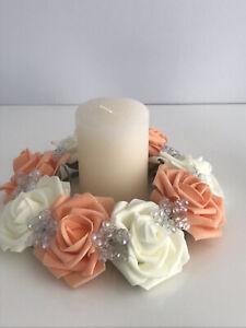 Ivory & Light Orange foam rose and AB beads candle ring wedding table decoration