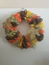 """Home Decor Mesh Fall Wreath Orange Bown Tan Green 14"""" Round"""