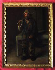 TABLEAU CHEMINEAU OUVRIER PAYSAN PEINTURE SOCIALE PORTRAIT PAINTING WORKER ART