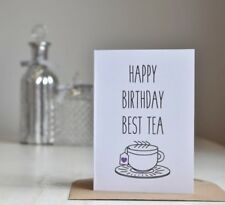 Best Friend / Bestie / Best Tea Birthday Card, Rustic Country Chic Style, White
