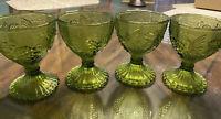 Vintage Green Glass Wine Goblets Set Of 4