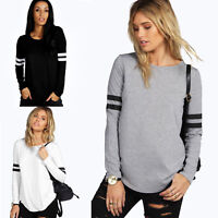 Women's Long Sleeve Pullover Hoodie Casual Stripe T-Shirt Sweatshirt Blouse Tops