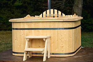Rectangular wood fired wooden hot tub with polypropylene liner, LED,  RRP £3700