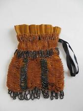 Antique Vintage Gold & Black Beaded Bag Purse Edwardian