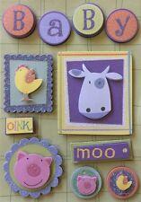FARM IMAGE Dimensional Stickers(11pc) Kurio•Cow•Pig•Chicken•Baby •Glitter•Animal