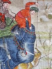 More details for vintage indian painting on silk elephants tiger hunting