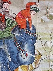 Vintage INDIAN PAINTING On Silk Elephants Tiger Hunting