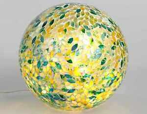 Formano Mosaikkugel grün - gelb 20 cm Glas + LED Kugelleuchte Mosaik Kugel