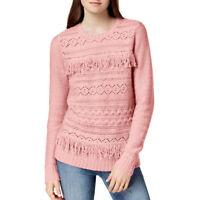 KENSIE NEW Women's Fringe-Trim Cable-Knit Crewneck Sweater Top TEDO