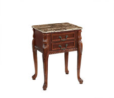 Mahogany Marble Top 2 Drawer Lamp Table Side End Antique Style Repro Brown