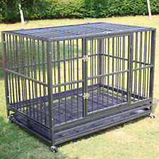 """48"""" Heavy Duty Pet Dog Cage Large Crate Kennel w/ Tray Exercise Pan Gray&Silver"""