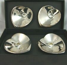 DANSK Design with Light Silverplate HEART Candle Holders Mint w Boxes (4 Total)