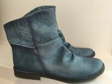 FEMINI Burnished Blue Matte Leather Ankle Booties Shoes Sz 38 / 7.5 - 8 M GREAT!