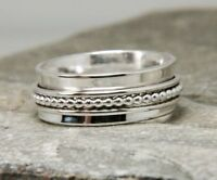 Solid 925 Sterling Silver Wide Band Spinner Ring Jewelry Handmade All Size DO-16