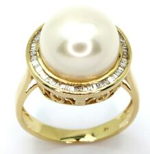 9ct Yellow Gold Pearl and 0.29cts Diamond Ring - Size M