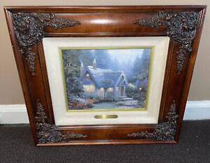 "(Rare) ""Cedar Nook Cottage"" Double Signed Thomas Kinkade Framed Canvas 1257/1960"