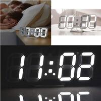 Modern Big Digital 3D LED Wall Clock Alarm Snooze 12/24H Temperature Display USB
