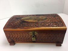 Carved Cedar Wood Trinket Jewelry Box With Mirror Inside