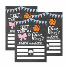 25 Basketball Gender Reveal Baby Shower Party Invitation Cards, Free Throws...