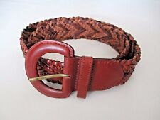 "Women's Talbots 1 3/4"" Brown Genuine Leather Woven Waist Belt L"
