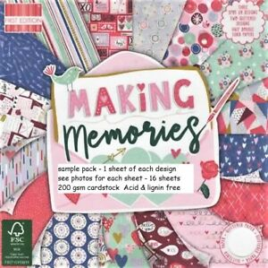 MAKING MEMORIES Dovecraft 6 x 6 Sample Paper Pack 1 sheet of each design 200gsm