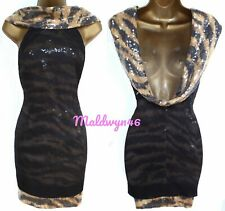 KAREN MILLEN ✩ TIGER PRINT SEQUIN COWL BACK MINI PARTY DRESS  ✩ UK 10 / 12 BNWT