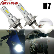 2x H7 Motorcycle LED Headlight Bulb Kit High/Low Beam 80W 4000LM 6000K White CSP