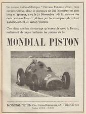 PUBBLICITA' 1951 FERRARI 375 F1 ASCARI MONDIAL PISTON CARRERA PANAMERICANA GP IT