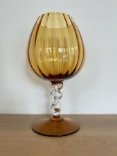 XL Vintage Italian Optic Art Glass Footed Vase / Snifter Empoli