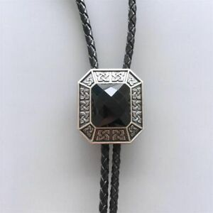 Silver Plated Black Agate Stone Octagon Celtic Western Leather Bolo Tie
