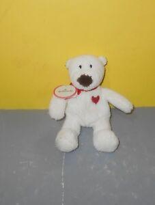 "Mini 7"" Hallmark Lovebud Little White Teddy Bear Bean Plush Stuffed Heart Chest"