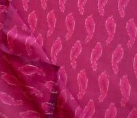 "Super Pink Ikat Fabric Silk Warp Natural Cotton Weft Hand Woven Soft Fabric 44"""