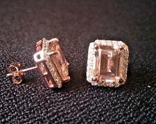 Morganite Halo Stud Earrings Emerald Cut & Cubic Zirconia 14k Rose Gold Over