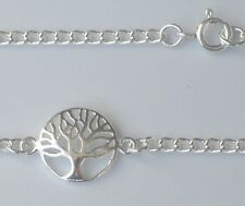 925 Sterling Silver Tree of Life Charm Bracelet Anklet Curb Chain MULTI SIZES