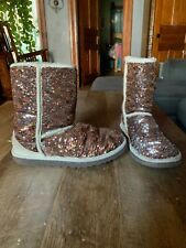 Womens Reversible White And Bronze Sequin Ugg Winter Boots Size 7