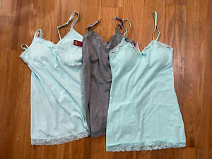 No Boundries women's camis lot of 3 mint green grey cotton lace L 1 NWT, 2 GUC