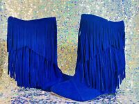 New Liliana Women Blue Faux Suede Fringe Pointy Toe Calf High Wedge Boot Size 8