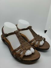 Clarks Artisan Size 9 W Women's Brown Gold Leather Sandals Small Wedge Shoes