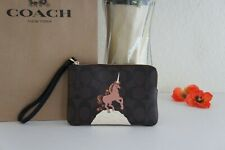 Coach C1870 Corner Zip Wristlet in Signature Canvas With Unicorn