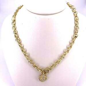 Judith Ripka 18K Yellow Gold Heart and Diamonds Link Necklace