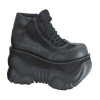 Demonia BOXER-01 Men's Platform Black Cyber Goth Leather Shoes Lace Up Casual