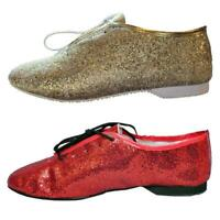 Glitter Jazz Shoes Rubber Sole Womens Gold or Red