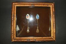 Enamel Painted Cherry Spoons in Shadow Box
